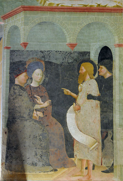 The Baptist scolds Herod. Fresco by Masolino, 1435